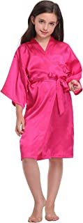 Flower Girl Satin Kimono Robes Pure Color & Floral Printed Bathrobes for Spa Wedding Birthday Party