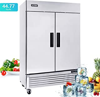 """Commercial 54"""" Two Section Solid Door Refrigerator-Kitma Stainless Steel 49 cu.ft Upright Fridge,33°F - 38°F"""
