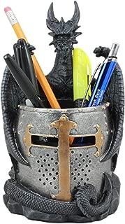 Ebros Medieval Fantasy Saint George Dragon Guarding Medieval Knight Helmet Stationery Pen Holder Statue 7