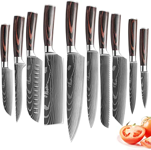 new arrival XITUO Kitchen Chef Knife Set,10 Piece High Carbon Stainless Steel Knives Pakkawood sale Handle, Ultra Sharp Cooking Knife with 2021 Knife Sheath & Gift Box (10PCS Chef Knife Set) outlet sale