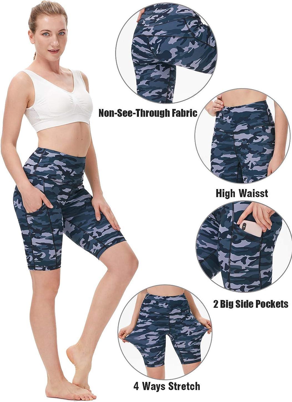 ENEESSI Womens High Waist Biker Workout Yoga Running Compression Shorts Side Pockets