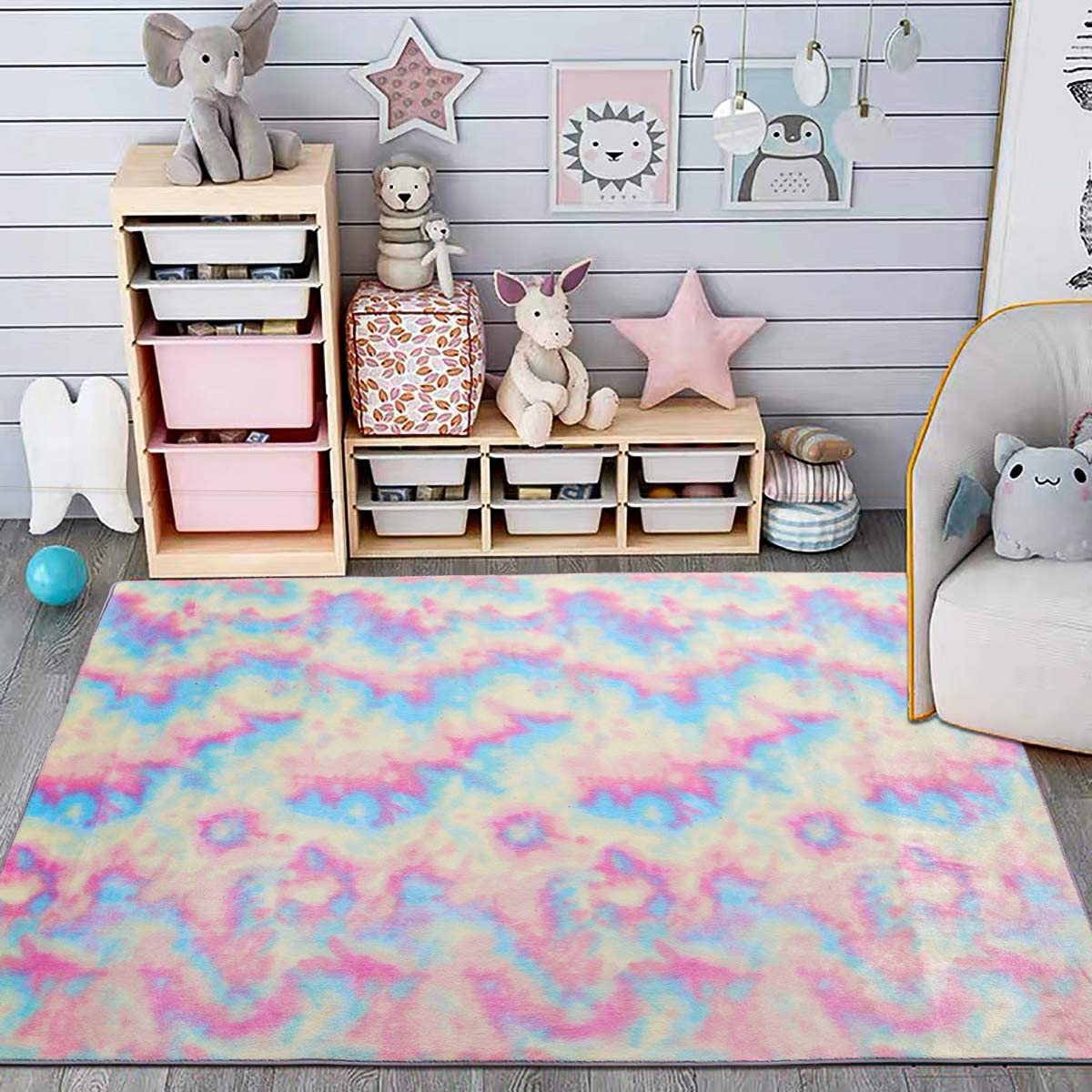 Maxsoft Furry Kids Rainbow Rugs Colorful Bed Area Selling and selling Girls for Popular product Rug
