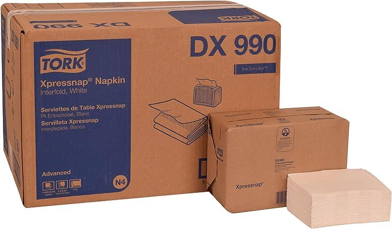 Tork DX990 Advanced Plus Xpressnap Dispenser Napkin Interfold 2 Ply 8 5 Length X 6 5 Width White Case Of 12 Packs 400 Per Pack 4 800 Napkins