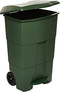 Cosmoplast Plastic Step-On Pedal Trash Waste Bin with Wheels, Hunter Green, 100 Liters, IFHHXX306HG