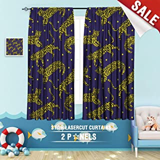 Big datastore home Blackout Curtain, Animal cat Decorative Exotic Fabric Fashion Graphic Grass Illustration Leopard Modern 63 x 45 inch Curtains Kids Bedroom,
