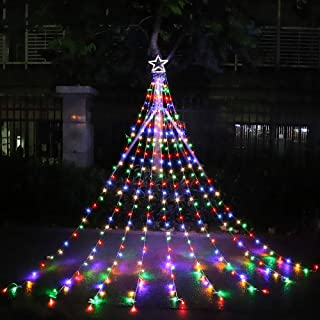 MUYUN Waterfall Christmas String Lights with 317 LED Star Hanging Twinkle Fairy Curtain Lights for Party Wedding Patio Indoor Outdoor Decorative Water Flow Lights (Star-Multicolor)