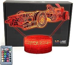 MARZIUS Race Sport Auto 3D Illusie Tafellamp Roadster Vorm Nachtlampje met Wenskaart, Lichtgevende Base, 16 Kleuren Verand...