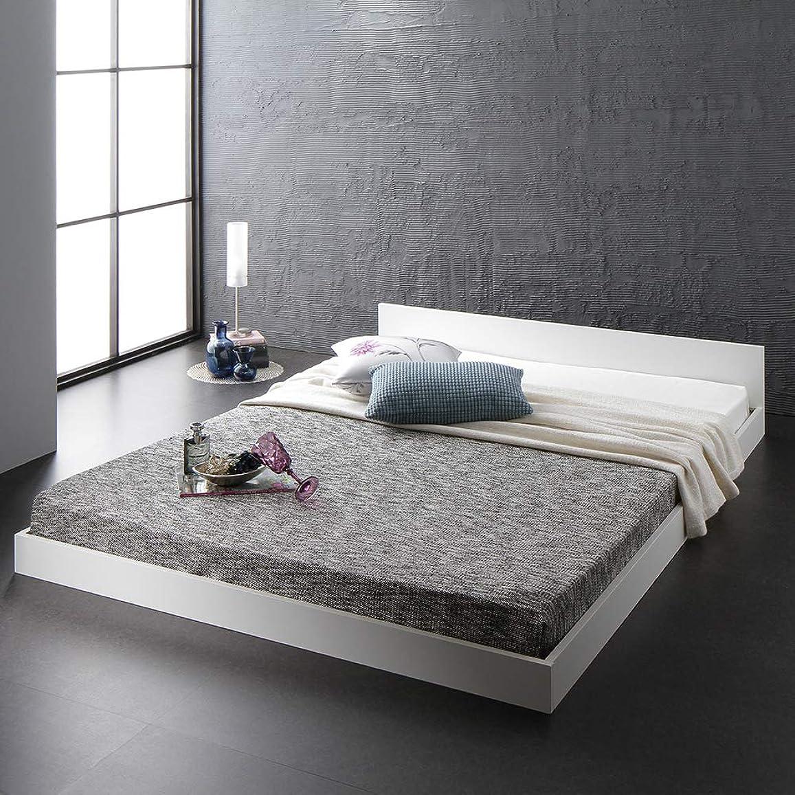 公演アパート発揮するベッド 低床 ロータイプ すのこ 木製 一枚板 フラット ヘッド シンプル モダン ホワイト セミダブル ボンネルコイルマットレス付き