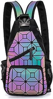 Geometrische Umhängetasche Geometrischer Rucksack Damen Leuchtender Holographic Rucksäcke Reflektierend Festival Tasche NO.2