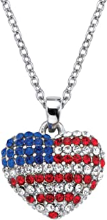 Palm Beach Jewelry Silvertone Round Red White and Blue Crystal American Flag Heart Pendant (16mm) with 18 inch Chain