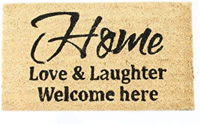 Decorative Coir Entrance Door Mat Home, Love & Laughter 70 cm x 40 cm
