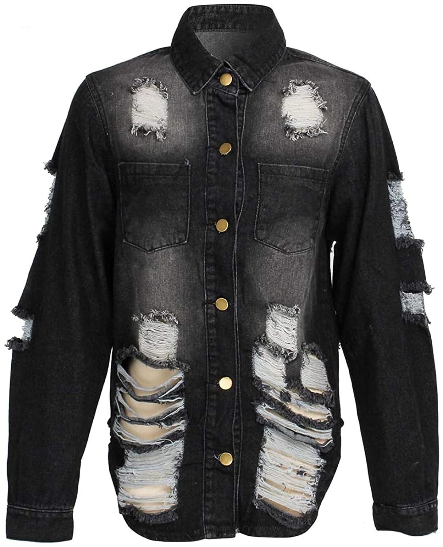 Jean Jacket Women Ripped Denim Jacket Distressed Fray Hem Tassels Denim Jackets Coat Trucker Jackets (XX-Large,Black)