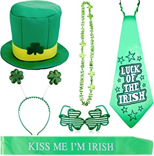 Zhanmai 6 Pieces St. Patrick's Day Costume Accessory Includes Leprechaun Hat Shamrock Necklace Glasses Props Headboppers Ties and Strap for Party