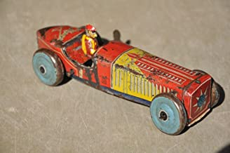 Vintage Wind Up Olympic AITO HY Trademark Litho Sports Car Tin Toy , Japan