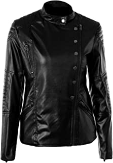 VearFit Women's Buttone Blazar Coat Real Leather Jacket True to Size