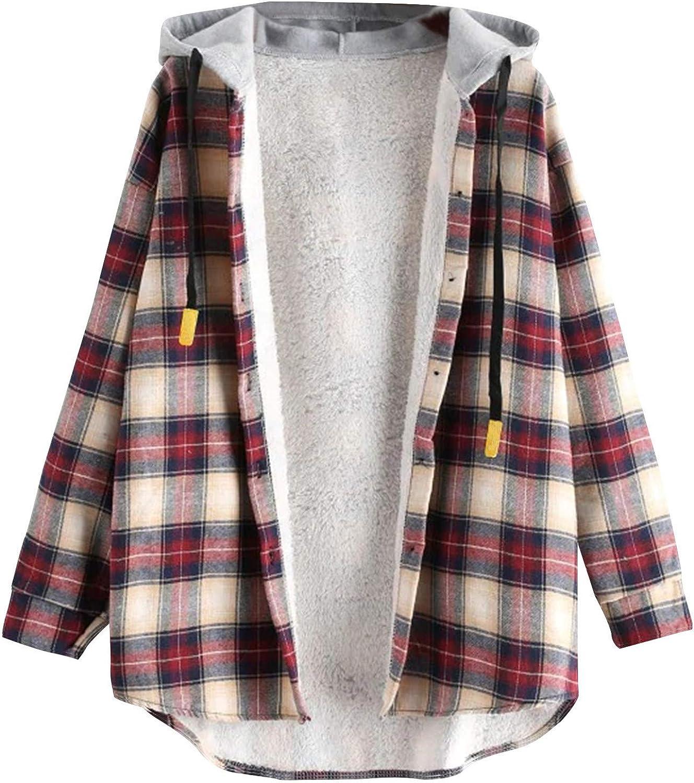 Casual Womens Jackets Plaid Print Plush Stitching Hoodie Drawstring Warm Top Long Sleeve Casual Sweater