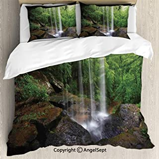 Bedding 3-Piece Set Duvet Cover Set,Still Waterfall in The Forest in Northern Alabama Habitat Ecosystem Scenery,Full Size,1 Quilt Cover 2 Pillow Shams,Green Brown