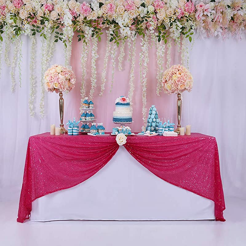 BalsaCircle 60x102 Inch Fuchsia Rectangle Tablecloth For Wedding Party Cake Dessert Events Table Linens