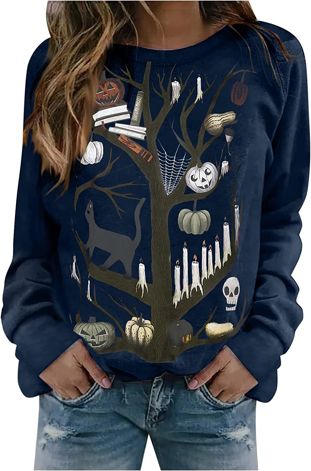 UOCUFY Womens Halloween Sweatshirts, Womens Casual Cute Long Sleeve Lightweight Tunic Tops Vintage Loose Blouse Pullover