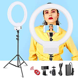 Neewer 18-inch White LED Ring Light with Light Stand Lighting Kit Dimmable 50W 3200-5600K with Soft Filter, Hot Shoe Adapter, Cellphone Holder for Make-up Video Shooting (NO Carrying Bag)
