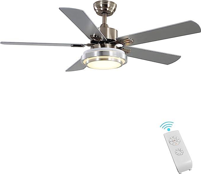 "Indoor Ceiling Fan Light Fixtures - FINXIN Remote LED 52 Brushed Nickel Ceiling Fans For Bedroom,Living Room,Dining Room Including Motor,Remote Switch (52"" 5-Blades)"