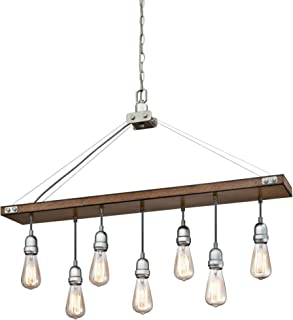 Westinghouse Lighting 6351500 Elway Seven-Light Indoor, Barnwood Finish with Galvanized Steel Accents CHANDELIER, Barnwood & Galvanized