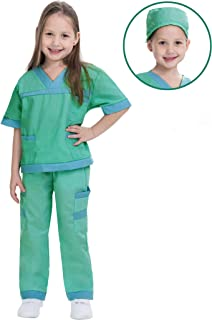 Dr. Scrubs Deluxe Kids Toddler Vet Costume Set in Green for Scrub's Pretend Play, Halloween Jr. Doctor Dress Up Party