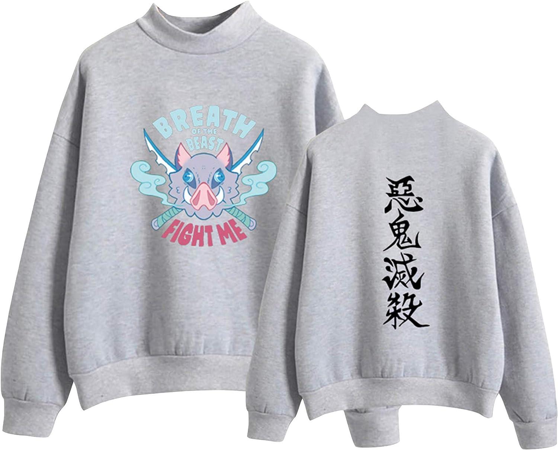 Anime Max 44% OFF Demon El Paso Mall Slayer Crewneck Sweatshirt Funny Print Pullo Inosuke