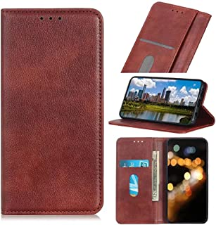 RanTuo Phone Case for Realme C21Y, with Card Slots, Bracket, TPU + PU Leather, Flip Case Cover for Realme C21Y.(Brown)