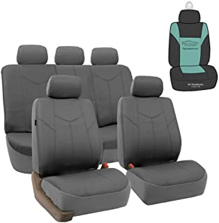 FH Group PU009115 Rome PU Leather Full Set Car Seat Covers, Airbag Compatible and Split Bench w. Gift, Solid Gray - Fit Mo...