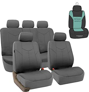 FH Group PU009115 Rome PU Leather Full Set Car Seat Covers, Airbag Compatible and Split Bench w. Gift, Solid Gray - Fit Most Car, Truck, SUV, or Van
