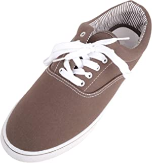 ABSOLUTE FOOTWEAR Mens Soft Canvas Casual Lace Up Pumps/Trainers/Shoes with Stitch Detail