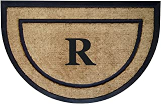 Nedia Home Single Picture Black Frame with Half Round Coir Rubber Border Dirt Buster Mat, 24 by 36-Inch, Monogrammed R
