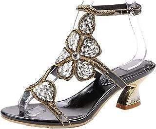 Rhinestones Comfort Chunky Low Heel Sandals Flowers Deco Dress Sandals Ankle Strap