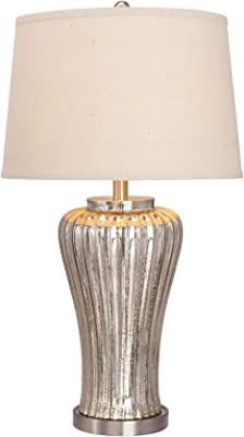 """Fangio Lighting W-5069 Table Lamp with Metal Accents, 16"""" x 16"""" x 28.5"""", Mercury Glass/Brushed Steel"""