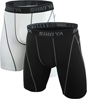 Siboya Men's Compression Shorts 2 Pack Cool Dry Workout Training Running Tights