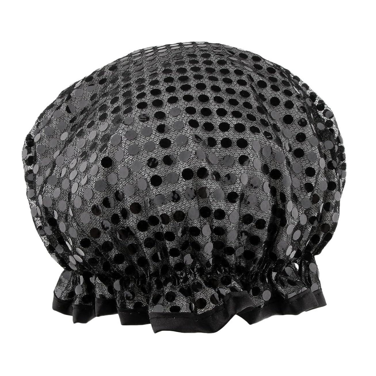 泥だらけアンタゴニストフロントHomyl シャワーキャップ バスキャップ 入浴帽子 温泉 SPA シャワー 料理 ヘアマスク 女性用 耐久性 3色選べる - ブラック