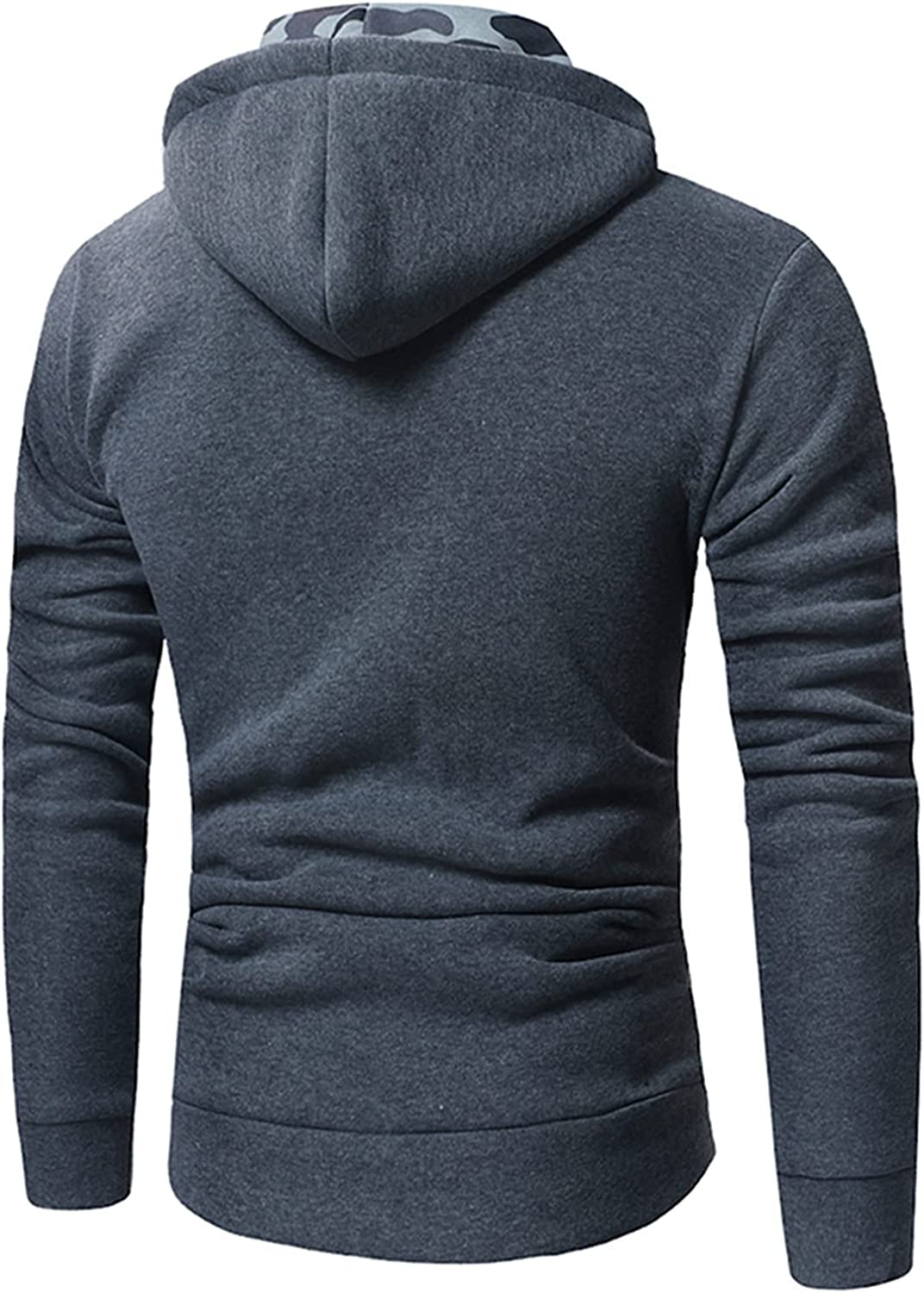 XXBR Camo Stitching Hoodies for Mens, Button Cowl Neck Pullover Loose Casual Turtleneck Hooded Sweatshirts with Pocket