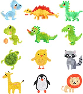 Phogary 5D Diamond Painting Kits for Kids, 12PCS Dinosaur & Animal Pattern DIY Arts and Crafts Kits for Children Sticker Paint with Diamonds by Numbers