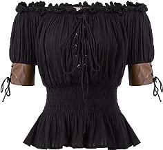 Women's Steampunk Victorian Blouse Half Sleeve Boho Off Shoulder Peasant Tops