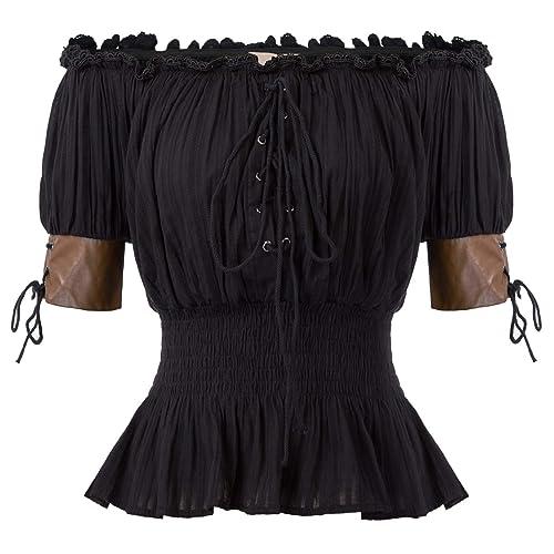 Lady Gothic Victorian Steampunk Lolita Ruffle Vamp Renaissance Pirate Blouse Top