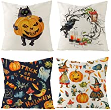 weispo 4 Pack Pumpkin Home Decoration Throw Pillow Case Covers,Halloween Thanksgiving Autumn Printing Cotton Linen Cushion Cover Square 18x18 inch for Car Sofa Bed Couch (Halloween 1)