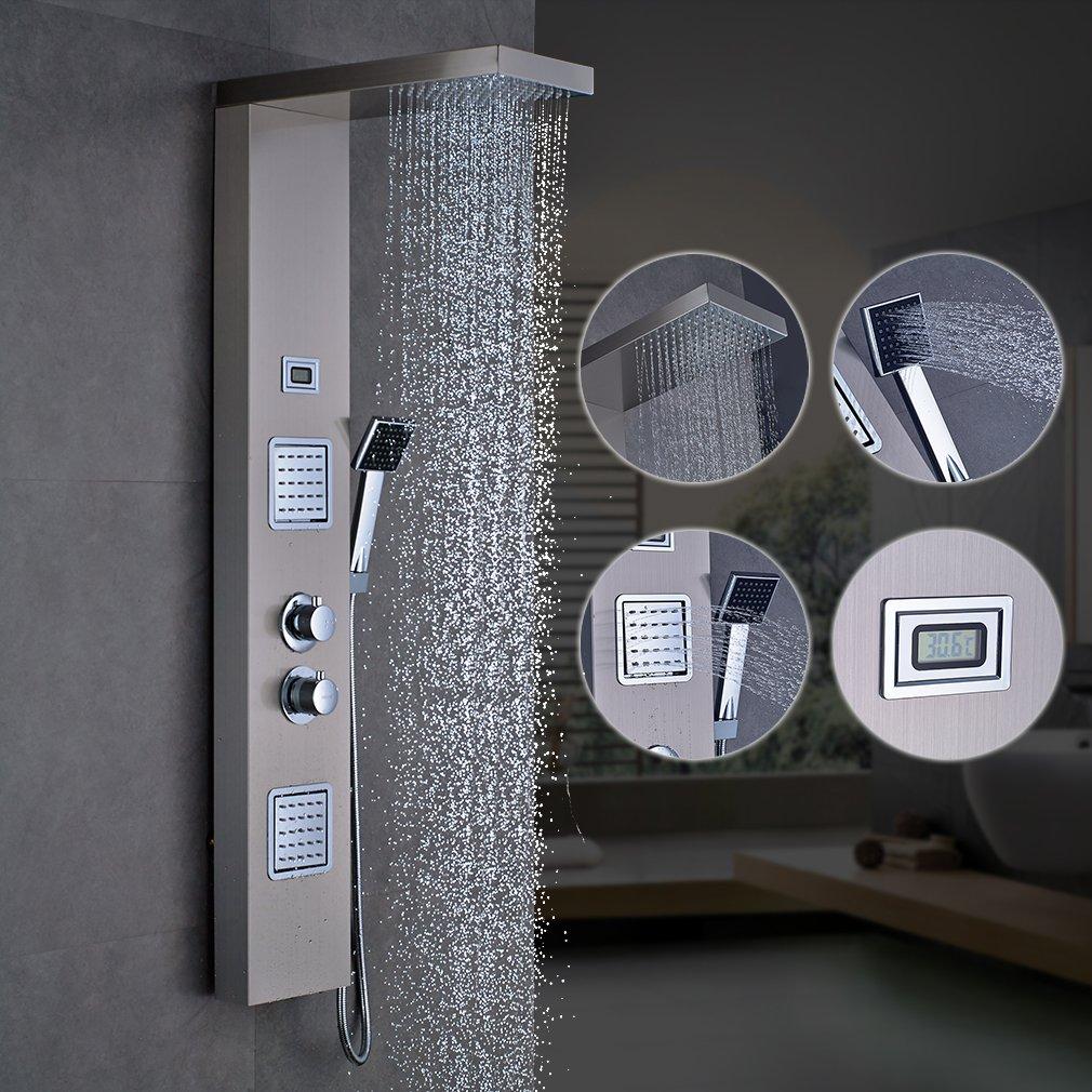obeeonr – Panel de ducha termostático de ducha Set 304 Acero ...