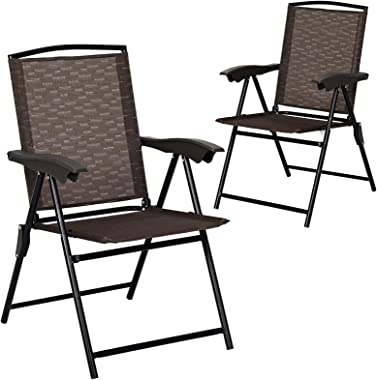Goplus Folding Sling Chairs Sets of 2, Portable Chairs for Patio Garden Pool Outdoor & Indoor w/Armrests