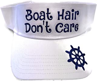 Blue Glitter Boat Hair Don't Care White Visor Fashion Lake Vacation