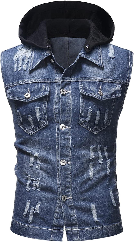 EverNight Men's Sleeveless Denim Vest,Casual Ripped Holes Jacket Tank,Hoodie Distressed Jean Waistcoat Gilets
