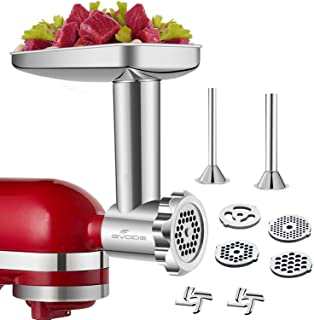 GVODE Stainless Steel Food Grinder Accessories For KitchenAid Stand Mixers Including Sausage Stuffer, Stainless Steel,Dish...