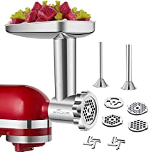 Stainless Steel Food Grinder Accessories for KitchenAid Stand Mixers Including Sausage Stuffer, Stainless Steel,Dishwasher...