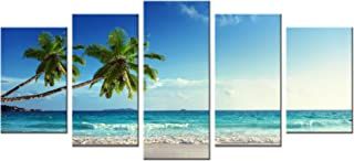 Wieco Art 5 Panels Modern Stretched and Framed Contemporary Ocean Sea Beach Artwork..