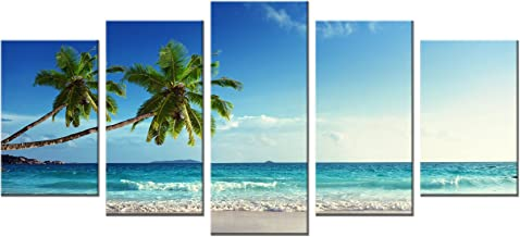 Wieco Art 5 Panels Modern Stretched and Framed Contemporary Ocean Sea Beach Artwork Pictures Paintings on Canvas Wall Art Seascape Canvas Prints Home Decor for Living Room Bedroom